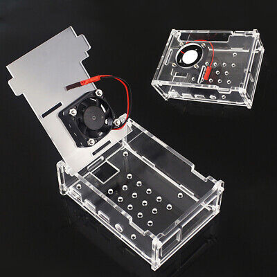 Transparent Acrylic Shell Protective Case Box+Cooling Fan For Raspberry Pi 4B
