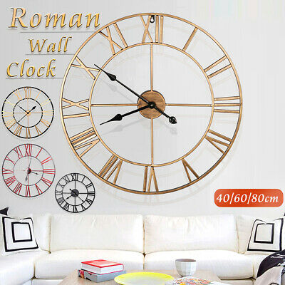 80CM Large Outdoor Garden Vintage Wall Clock Roman Numerals Metal Round Face