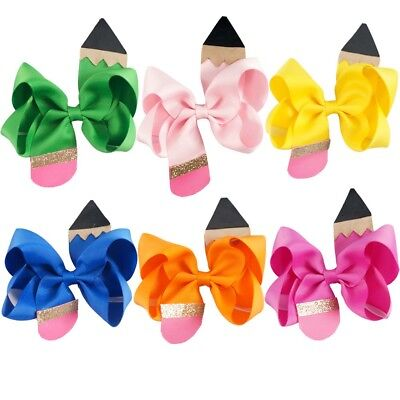 4.5inch Back to School Hair Bow With Clip For Girls Kids Boutique Pencil Bowknot