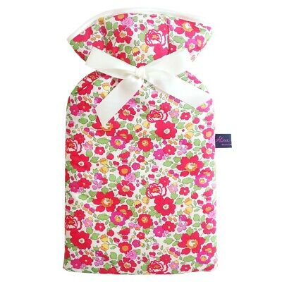 Famous Liberty London Fabric Betsy Red Print Padded 2 Litre Hot Water Bottle