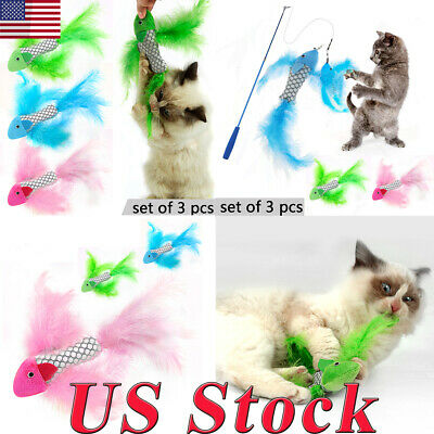 US Cat Feather Toy Catnip Pets Kitten Toys Plush Interactive 3 Colors Sets NEW