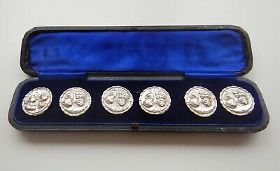 Antique 1901 Cased Six Solid Silver Art Nouveau Buttons Reynold's Angels / Cupid