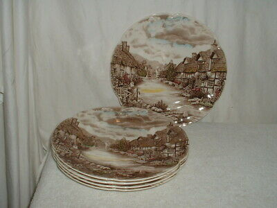 "5 Johnson Bros Olde English Countryside Multi-Color 10"" Dinner Plates"