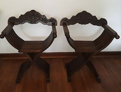 Pair of Antique Italian Renaissance Savonarola  Folding Chairs Medieval