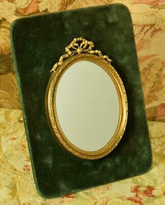 Sublime Antique French Oval Vanity Mirror, Bow & Ribbon Tail Crest, Teal Velvet