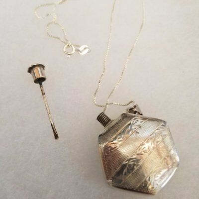 ANTIQUE STERLING SILVER ETCHED FLASK PERFUME PENDANT W/chain and Funnel