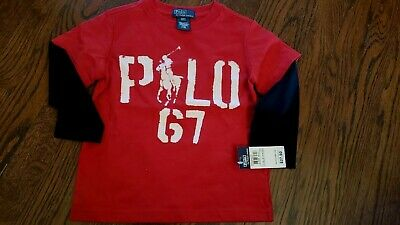 Nwt Polo Boy's Red T Shirt Top W/black Long Sleeves Size 3 T