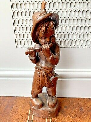 Vintage Wooden Hand Carved Dutch Boy Playing Flute Pipe Wood Statue Figure