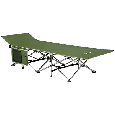 KingCamp Strong Stable Folding Camping Bed Cot with Carry Bag Green with Side