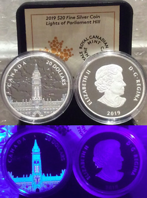 2019 Northern Lights Parliament Hill Glow-Dark $20 1OZ Silver Proof Coin Canada