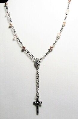 AMAZING ROSARY NECKLACE S.STEEL PINK PEARLS /LIGHT ROSE CRYSTAL. ChaChi Designed