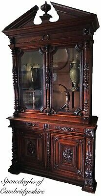 Large 19th Century Carved Oak Bookcase Trophy Display Cabinet