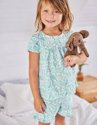 Ex mini Boden girls ruffle floral bird print pyjama set Age 9-10 years