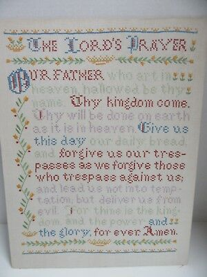 Finished Embroidery The Lords Prayer Completed 14x18 Religious Our Father