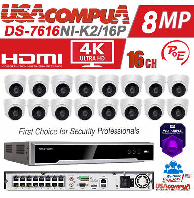 HIKVISION NVR SECURITY System Kit 16CH DS-7616NI-K4/16P 4TB