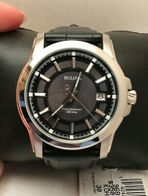New Bulova Men's Stainless Steel Black Lthr Strap Precisionist Watch 96B158-H72