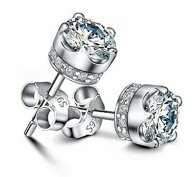 Earrings Silver Stud 925 Sterling Cubic Zirconia Round Solid Genuine Cz Womens