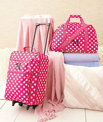 3 Pc Girls Kids LUGGAGE MONOGRAMMED ROLLING SUITCASE DUFFEL BAG CLUTCH 11 LETTER