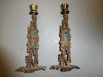 """Pair (2) Judaica Candle Holders Brass & Multi-Color Glass Made in Israel 9 1/2"""""""