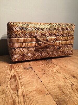 Antique Wicker  Suitcase - Picnic Basket - Original Wood Toggle - Two Handles