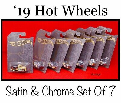 Hot Wheels Satin & Chrome Set Of 7 Cars W/Chase And '71 Datsun 510 In Stock 2019