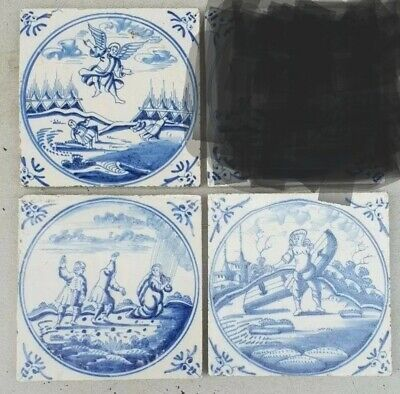 Set of 3 antique dutch delft blue biblical Tiles.