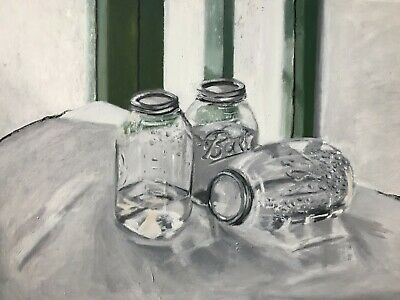 """Water in Jars"" Original Oil Painting on Canvas Unframed & Signed by Michel CG"