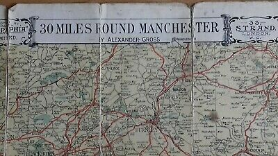 Vintage Geographia Golf Course Map 30 Miles round Manchester by A Gross.