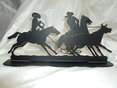 Cast Iron COWBOY Sign Bookend Plaque Home Decor Rustic Ranch Western