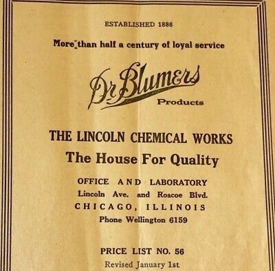 *Rare* Vintage DR. BLUMERS Product Catalog Price List Chicago *RARE* Advertising