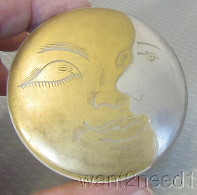 20s French art deco MOON FACES CELLULOID POWDER BOX etched gold silver inlay