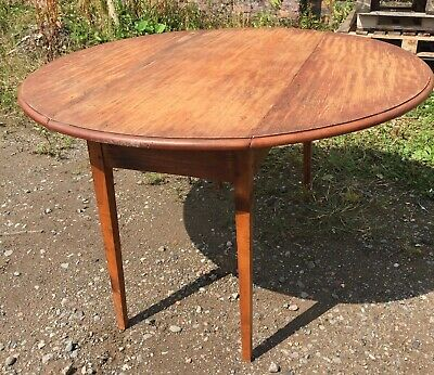 """Antique Hand Made Pitch Pine Round Table - Drop Leaves 48"""" Diameter Top"""