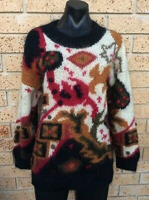 Vintage 80's Mohair Wool Jumper Size M Colourful Black Ivory Super Warm Sweater