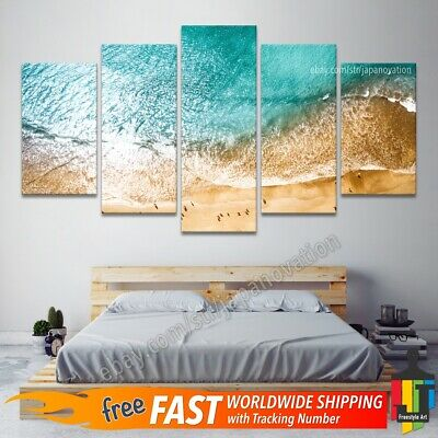 5 Pieces Wall Art Canvas Home Decor Sea Ocean Waves Tropical Beach Nature Poster
