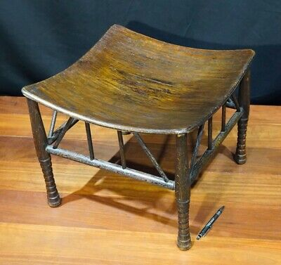 Thebes stool, Arts & Crafts stained oak, prob. Liberty & Co, circa 1890