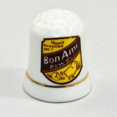 Vintage Bon Ami Powder Advertisement Porcelain Thimble Gold Trim