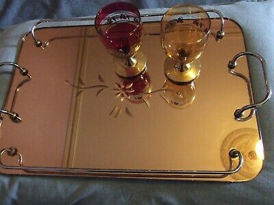 Antique Art Deco Pink Mirror  Chrome Serving Tray Original Rare 1930'S