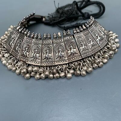 Vintage Tribal Ethnic Sterling Silver Peacock Choker Collar Necklace India 83GMS