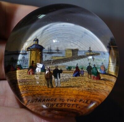 Victorian Glass Paperweight - THE PIER LOWESTOFT c. 1880