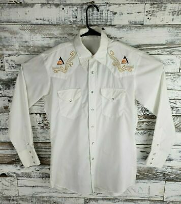 Vintage Allis Chalmers Mens Embroidered Long Sleeve Pearl Snap Western Shirt M?