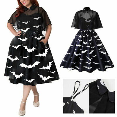 Black Women Rockabilly Dress Retro Bat Vintage Party Cocktail Housewife+ Cloak