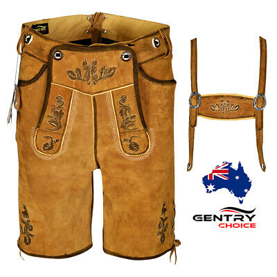 Bavarian Men Oktoberfest Costume Leather Lederhosen German Outfit Short Oak Art