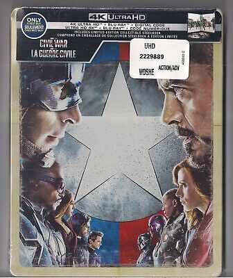 Captain America Civil War (Steelbook) 4k Ultra HD & Blu-Ray + Digital Code