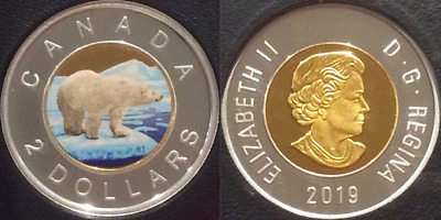 2019 $2 Toonie Proof Pure Silver Colour Coin Canada Polar Bear Classic DesignRCM