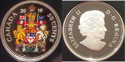 2019 Half Dollar Proof Pure Silver Colour 50-Cent Coin Canada Coat Arms Classic