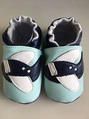 Leather Baby Shoes with Aeroplanes Size 1, Blue