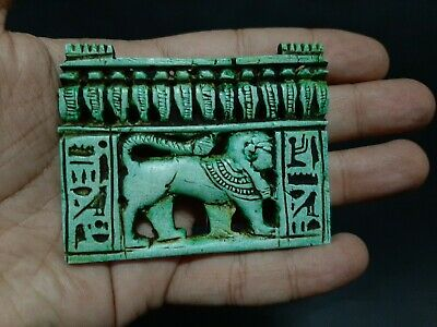 ANCIENT EGYPTIANANTIQUES FAIENCE PANEL PENDANT With HIEROGLYPHICS 664-332 BC