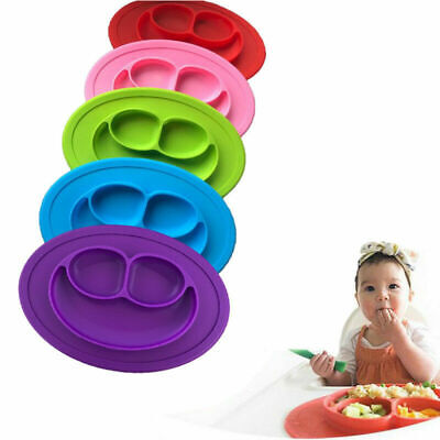 Portable Silicon Baby Happy Snack Mat Kids Table Food Tray Placemat Plate Bowl