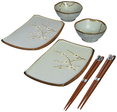 Spring Blossom Japanese Sushi Plate Gift Set with 2-Pair of Chopsticks, for
