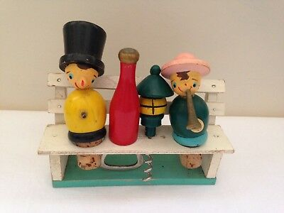 Retro Vintage Wooden Novelty Bar Tools On Bench Stand